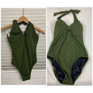 J Crew 10 Olive Green Bamboo halter swimsuit